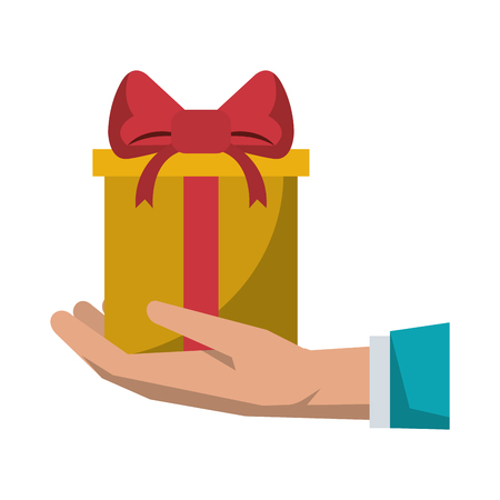 Gift giving delivery business market hand holding present vector illustration graphic desing 向量圖像
