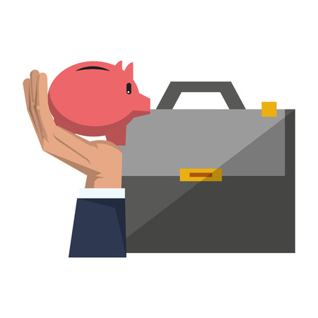 Savings banking invesment portafolio with hand holding piggybank and briefcase vector illustration graphic desing