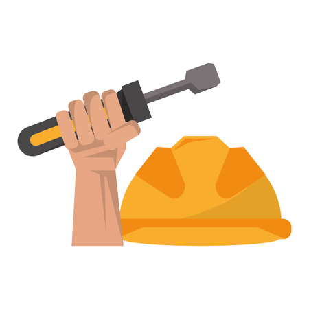 Hand holding tool screwdriver with security helmet construction work safety warning vector illustration graphic desing