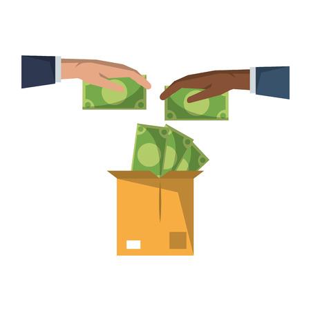 Money saving invesment market bussines hands deposit in box vector illustration graphic desing 向量圖像