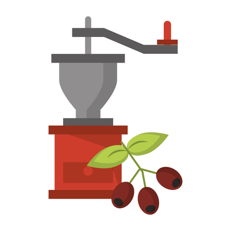 Coffee grinder with coffee beans and leaves with top lever natural fresh vector illustration graphic desing