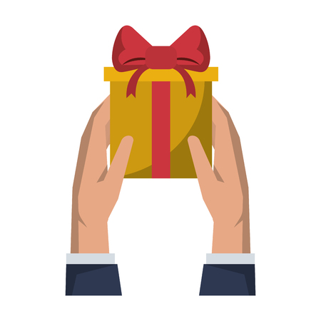 Gift giving delivery business market hands giving present vector illustration graphic desing 向量圖像