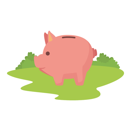 piggy saving icon cartoon on the grass vector illustration graphic design