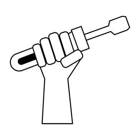 Hand holding screwdriver working repairgripping and using tool vector illustration graphic desing