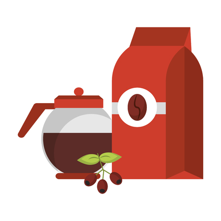 Coffeebag and pot with fresh coffee beans on leaves natural vector illustration graphic desing 向量圖像