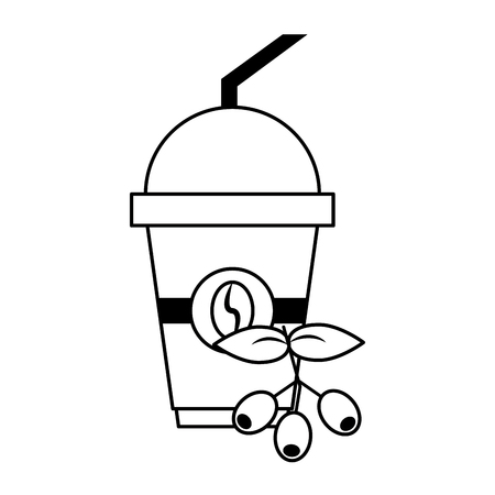 Coffee cup hot beverage coffeeshop products with beans on the leaves a lid and straw vector illustration graphic desing 向量圖像