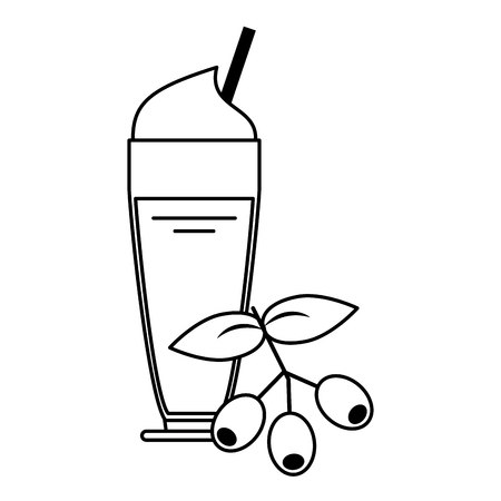 Fresh coffee beans and cold sweet drink with whipped cream and straw vector illustration graphic desing 向量圖像