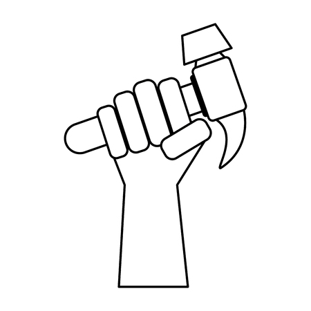 Hand holding tool hammer consturction and repair work industry vector illustration graphic desing