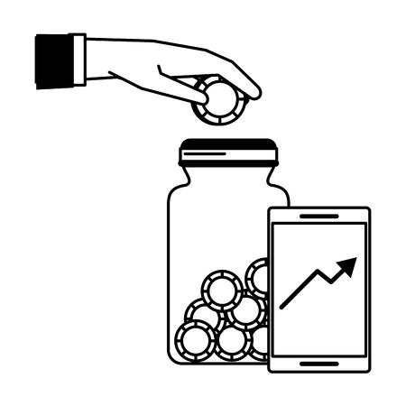 Money saving invesment market bussines hand deposit coin in jar tendency graph vector illustration graphic desing Ilustração