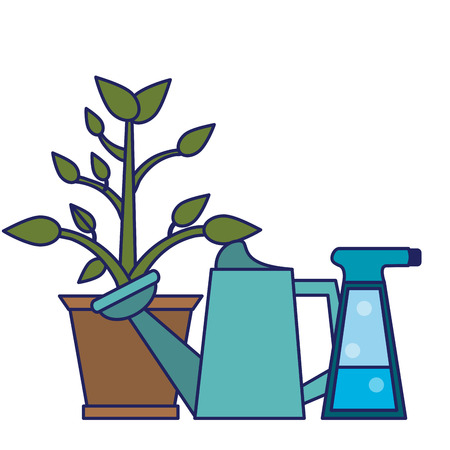 Gardening plants and tools plant pot water can and spray