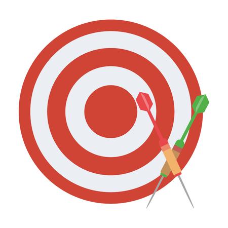 Dartboard with bow arrows cartoon Çizim