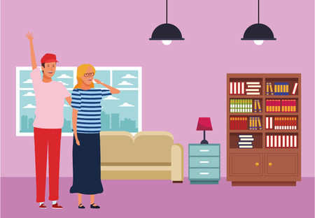 couple avatar cartoon character hand up wearing hat and glasses  inside home apartment vector illustration graphic design Ilustrace