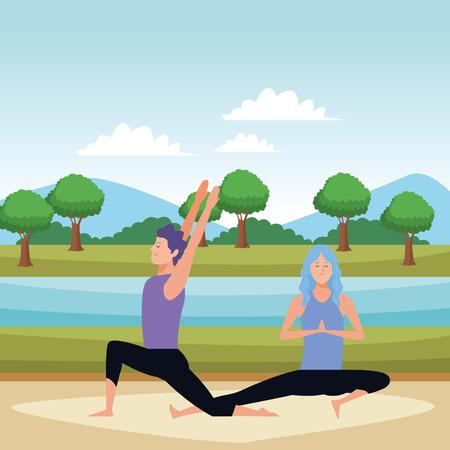 couple yoga poses avatars cartoon character in the park vector illustration graphic design Ilustração