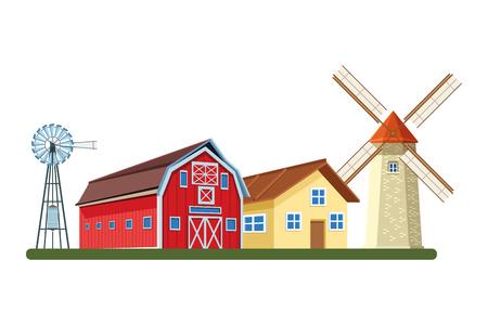 farm barn and windmill wind turbine icon cartoon vector illustration graphic design