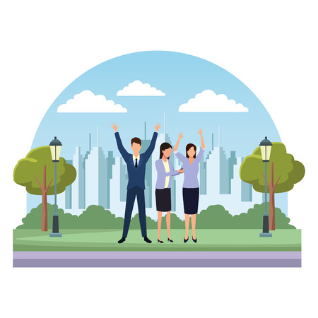 Businessman and businesswomen with arms up in the park over cityscape scenery vector illustration graphic design