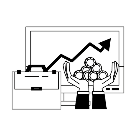 Invesment market business portafolio tendency data graph briefcase hands and coins vector illustration graphic desing