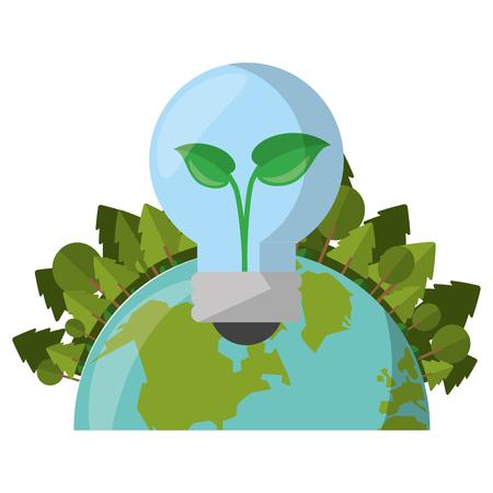 Green and renewable energy symbols vector illustration graphic design Ilustração