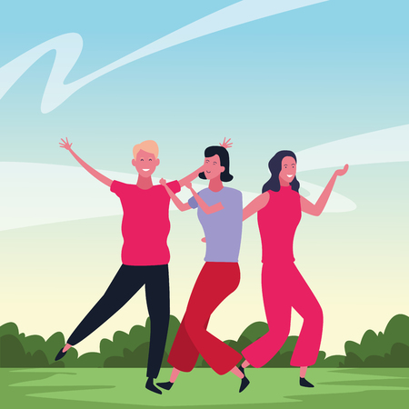 Happy people dancing and having fun in nature landscape scenery vector illustration graphic design 向量圖像