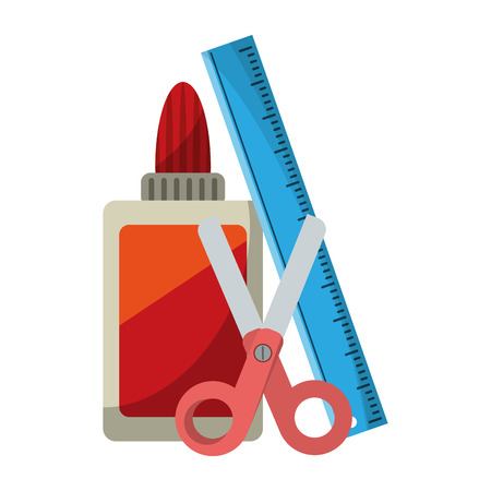 School utensils and supplies glue bottle and scissors with ruler