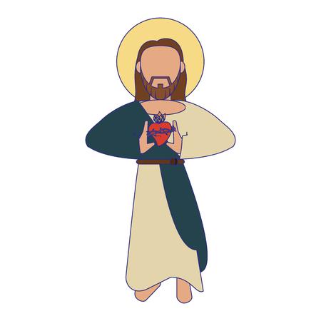 jesus christ with sacred heart man cartoon vector illustration graphic design