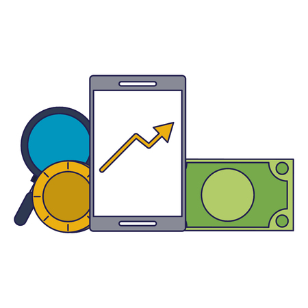 Invesment market business portafolio data tendency with cash and magnifying glass vector illustration graphic desing