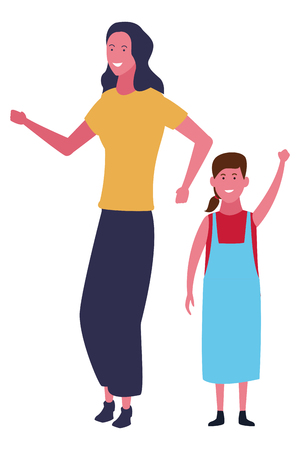 Single mother with kid daughter cartoon vector illustration graphic design
