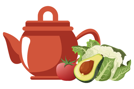 vegetables icon cartoon with tea pot vector illustration graphic design