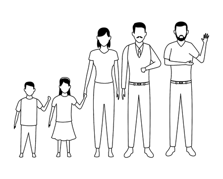 family avatar cartoon character grandparent children black and white vector illustration graphic design
