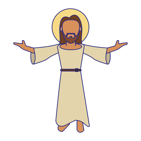 jesuschrist man with arms open cartoon vector illustration graphic design