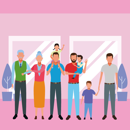 family avatar cartoon character grandparent children indoor house vector illustration graphic design
