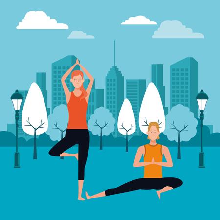 couple yoga poses avatars cartoon character in the park cityscape skyscraper at night vector illustration graphic design