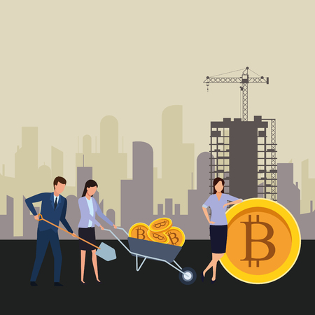 business people holding cryptocurrency bitcoin wheelbarrow and shovel construction zone vector illustration graphic design