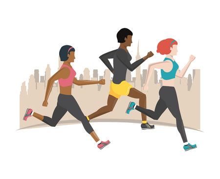 Fitness people running in the city scenery vector illustration graphic design