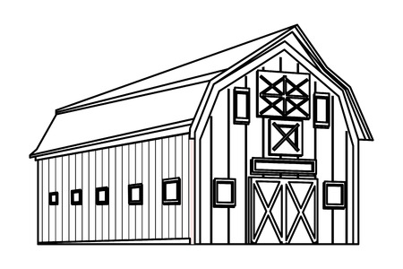 barn icon cartoon isolated black and white vector illustration graphic design Stock Vector - 121241432