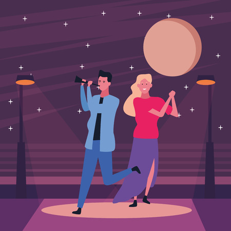Happy couple having fun and dancing on the street at night scenery vector illustration graphic design Vectores