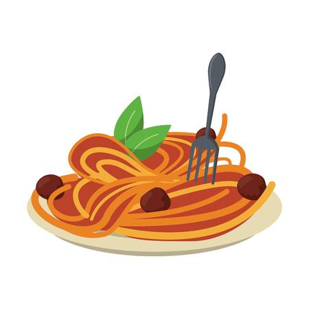 Spaghetti with bolognese italian food Ilustração