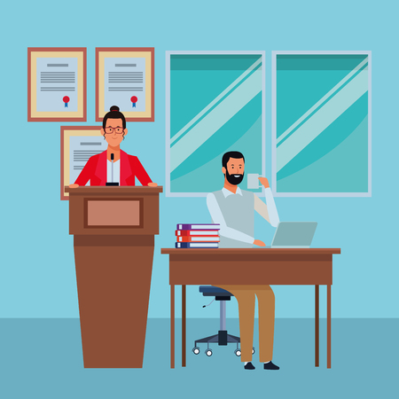 couple in a podium and office desk wearing glasses and beard in the auditory vector illustration graphic design Ilustrace
