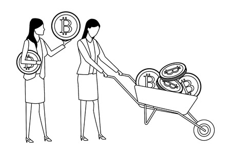 businesswomen holding cryptocurrency bitcoin with wheelbarrow black and white vector illustration graphic design
