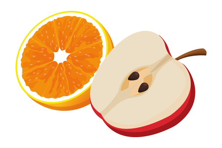 orange and apple icon cartoon isolated vector illustration graphic design Banque d'images - 121241512