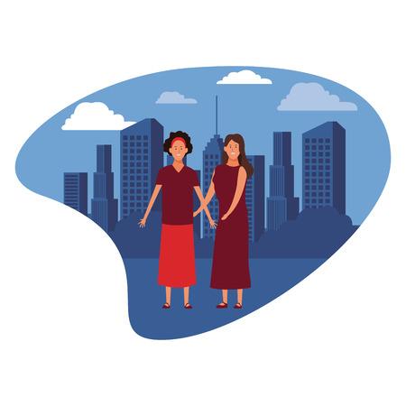 women avatar cartoon character wearing skirt headband  over cityscape scenery vector illustration graphic design