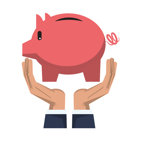 Savings banking invesment portafolio with hands holding piggybank vector illustration graphic desing Ilustracja