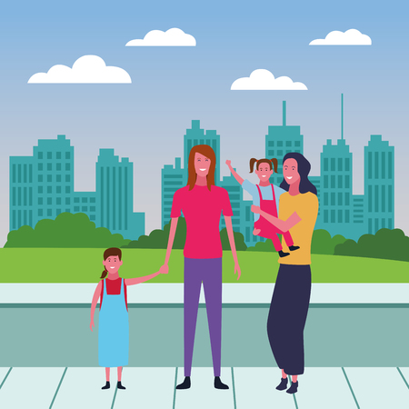 Family single mothers with daughters over cityscape scenery Vectores