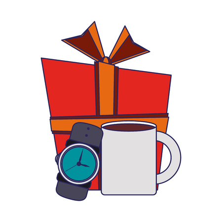 giftbox with male wristwatch and coffee mug vector illustration graphic design