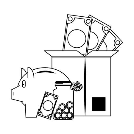 Invesment market business portafolio money jar and box coins bills and piggybank vector illustration graphic desing