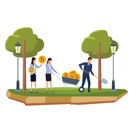 business people holding cryptocurrency bitcoin with wheelbarrow and shovel at park vector illustration graphic design