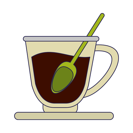 Hot coffee cup with spoon cartoon vector illustration graphic design