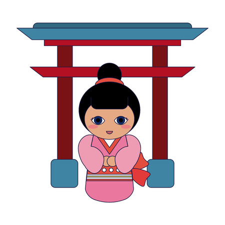 Japanese girl on arch symbol cartoon vector illustration graphic design
