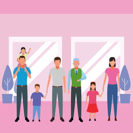family avatar cartoon character grandparent children indoor house vector illustration graphic design