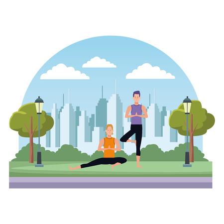men yoga poses avatar cartoon character in the park cityscape skyscraper vector illustration graphic design