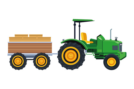 Camion agricolo trattore e rimorchio icona fumetto illustrazione vettoriale graphic design Vettoriali